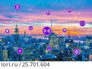 Купить «Internet of things concept in the city», фото № 25701604, снято 20 января 2019 г. (c) Elnur / Фотобанк Лори