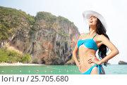 Купить «happy woman in bikini swimsuit on bali beach», фото № 25705680, снято 11 июля 2013 г. (c) Syda Productions / Фотобанк Лори