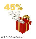 Forty-five percent for sale in red box. Стоковая иллюстрация, иллюстратор Дмитрий Самойленко / Фотобанк Лори