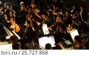 Купить «Ufa, RUSSIA - NOVEMBER 19, 2015: Symphony Orchestra at the Bashkir Theater of Opera and Ballet, Ufa», видеоролик № 25727868, снято 19 ноября 2015 г. (c) Mikhail Erguine / Фотобанк Лори