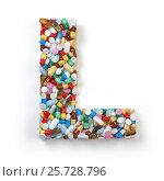 Купить «Letter L. Set of alphabet of medicine pills, capsules, tablets and blisters isolated on white. 3d illustration», фото № 25728796, снято 19 июня 2019 г. (c) Maksym Yemelyanov / Фотобанк Лори