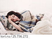 Купить «sick girl in bed», фото № 25736272, снято 5 марта 2017 г. (c) Майя Крученкова / Фотобанк Лори