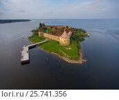Купить «Aerial view on fortress Oreshek on island», фото № 25741356, снято 22 июля 2016 г. (c) Михаил Коханчиков / Фотобанк Лори