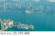 Hong Kong aerial view on skyscrapers boat and sea (2016 год). Стоковое видео, видеограф Михаил Коханчиков / Фотобанк Лори