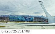 Купить «Сочинская чаша Олимпийского огня на фоне ледового дворца «Айсберг» во время третьих зимних всемирных военных игр в Олимпийском парке с видом на снежные вершины», эксклюзивное фото № 25751108, снято 25 февраля 2017 г. (c) Диана Должикова / Фотобанк Лори