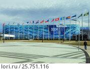 Купить «Ледовый дворец «Айсберг» с баннером «Sochi2017 3rd cism world winter games» на фоне снежных гор, Сочи», эксклюзивное фото № 25751116, снято 25 февраля 2017 г. (c) Диана Должикова / Фотобанк Лори
