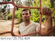 Купить «Military soldier standing near fitness trial», фото № 25752424, снято 24 ноября 2016 г. (c) Wavebreak Media / Фотобанк Лори
