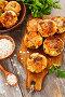 Овощные котлеты с грибами и овсяными хлопьями на столе. Постное блюдо, фото № 25754064, снято 14 марта 2017 г. (c) Надежда Мишкова / Фотобанк Лори