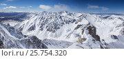 Панорамный вид на заснеженные горные вершины (2016 год). Стоковое фото, фотограф Попов Роман / Фотобанк Лори