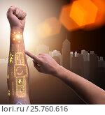 Купить «Human robotic hand in futuristic concept», фото № 25760616, снято 21 сентября 2019 г. (c) Elnur / Фотобанк Лори