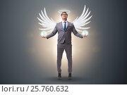 Купить «Angel investor concept with businessman with wings», фото № 25760632, снято 20 августа 2018 г. (c) Elnur / Фотобанк Лори