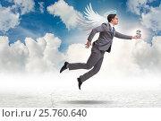 Купить «Angel investor concept with businessman with wings», фото № 25760640, снято 20 августа 2018 г. (c) Elnur / Фотобанк Лори
