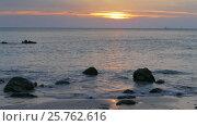 Купить «Landscape with sunset on tropical beach», видеоролик № 25762616, снято 4 февраля 2017 г. (c) Михаил Коханчиков / Фотобанк Лори
