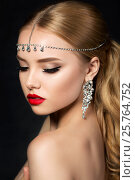 Portrait of young beautiful woman with evening make up, фото № 25764752, снято 5 июля 2016 г. (c) Людмила Дутко / Фотобанк Лори