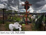 Купить «Детские игрушки лежат на могиле на кладбище в Ярославской области, Россия», фото № 25765848, снято 10 июня 2016 г. (c) Николай Винокуров / Фотобанк Лори