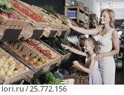 Купить «Glad mother with daughter shopping various veggies», фото № 25772156, снято 27 мая 2019 г. (c) Яков Филимонов / Фотобанк Лори