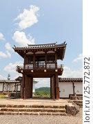 Реконструированные ворота Цуриганэмон замка Фукутияма, Япония. Замок основан в 1579 г. полководцем Акэти Мицухидэ (2016 год). Стоковое фото, фотограф Иван Марчук / Фотобанк Лори