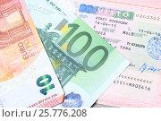 Купить «Шенгенская виза на странице паспорта и купюры евро», эксклюзивное фото № 25776208, снято 17 марта 2017 г. (c) Яна Королёва / Фотобанк Лори