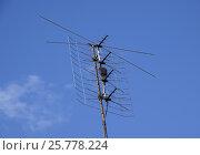 Купить «All-wave inphase antenna lattice. The television antenna for reception of radio TV of a signal», фото № 25778224, снято 9 мая 2016 г. (c) Леонид Еремейчук / Фотобанк Лори