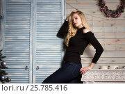 Купить «Блондинка с длинными волосами стоит у камина», фото № 25785416, снято 29 ноября 2016 г. (c) Момотюк Сергей / Фотобанк Лори
