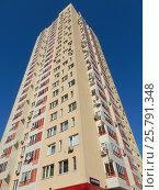 Купить «Двадцатипятиэтажный одноподъездный монолитный жилой дом, построен в 2009 году. Погонный проезд, 14, корпус 1. Район Богородское. Москва», эксклюзивное фото № 25791348, снято 10 марта 2017 г. (c) lana1501 / Фотобанк Лори
