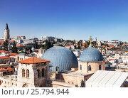 Вид  сверху на храм Гроба Господня, Иерусалим, Израиль, фото № 25794944, снято 5 декабря 2015 г. (c) Наталья Волкова / Фотобанк Лори