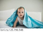 Купить «Cute baby girl under the blanket on bed», фото № 25796548, снято 29 ноября 2016 г. (c) Wavebreak Media / Фотобанк Лори