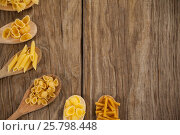 Купить «Spoons filled with varieties of pasta», фото № 25798448, снято 13 октября 2016 г. (c) Wavebreak Media / Фотобанк Лори