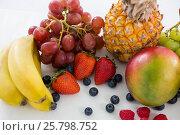 Купить «Close-up of various types of fruits», фото № 25798752, снято 19 декабря 2016 г. (c) Wavebreak Media / Фотобанк Лори