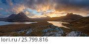 Купить «Sunset over Assynt and Loch Lon na Uamha. Assynt, Highlands of Scotland, UK, January 2016.», фото № 25799816, снято 21 августа 2018 г. (c) Nature Picture Library / Фотобанк Лори