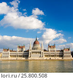 Купить «The Hungarian Parliament Building in Budapest, Hungary», фото № 25800508, снято 20 февраля 2016 г. (c) Юрий Дмитриенко / Фотобанк Лори