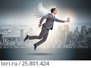 Купить «Angel investor concept with businessman with wings», фото № 25801424, снято 20 августа 2018 г. (c) Elnur / Фотобанк Лори