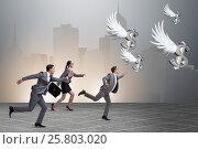 Купить «Businesspeople chasing angel investor funding», фото № 25803020, снято 22 ноября 2018 г. (c) Elnur / Фотобанк Лори