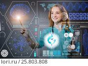 Купить «Doctor in futuristic medical concept pressing button», фото № 25803808, снято 20 февраля 2019 г. (c) Elnur / Фотобанк Лори