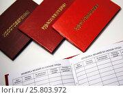 Купить «Удостоверение по охране труда и промышленной безопасности в раскрытом виде, в красной обложке», фото № 25803972, снято 21 марта 2017 г. (c) Evgenii Mitroshin / Фотобанк Лори