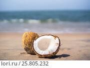 Beautiful ripe coconut the lake broken down into 2 half lies on a white sand beach. Стоковое фото, фотограф Dmitriy Melnikov / Фотобанк Лори