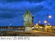 Купить «Старая мельница на въезде в Старый Несебр, Болгария», фото № 25809872, снято 21 сентября 2016 г. (c) Михаил Марковский / Фотобанк Лори