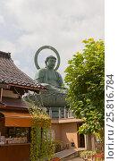 Купить «Бронзовая статуя Большого Будды (1933 г.) в г. Такаока. Третья по величине статуя Большого Будды (7,4 м.) в Японии», фото № 25816784, снято 5 августа 2016 г. (c) Иван Марчук / Фотобанк Лори