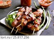 Купить «Grilled pork kebabs on plate», фото № 25817256, снято 20 февраля 2017 г. (c) Татьяна Волгутова / Фотобанк Лори