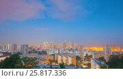 Купить «Epic sunset  Over Century City Skyline in Singapore», видеоролик № 25817336, снято 23 марта 2019 г. (c) Кирилл Трифонов / Фотобанк Лори