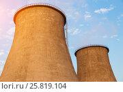 Купить «Cooling towers of the power plant», фото № 25819104, снято 23 сентября 2015 г. (c) Юрий Губин / Фотобанк Лори