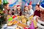 family celebrating children's birthday during festive dinner, фото № 25820080, снято 27 марта 2017 г. (c) Яков Филимонов / Фотобанк Лори