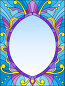 Illustration in stained glass style frame with abstract patterns and swirls on a blue background, иллюстрация № 25823380 (c) Наталья Загорий / Фотобанк Лори