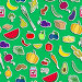 Seamless background on the topic of vegetarianism, simple icons, food signs stickers on a green  background, иллюстрация № 25823388 (c) Наталья Загорий / Фотобанк Лори