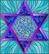 Illustration in stained glass style with an abstract six-pointed blue star on a blue background, иллюстрация № 25823392 (c) Наталья Загорий / Фотобанк Лори