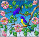 Illustration in stained glass style with two two bright birds on the branches of blooming wild rose on a background sky, иллюстрация № 25823400 (c) Наталья Загорий / Фотобанк Лори