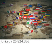Купить «European Union map with flags of countries. Europe.», фото № 25824336, снято 14 января 2020 г. (c) Maksym Yemelyanov / Фотобанк Лори