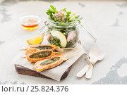 Купить «Chicken Skewers with Apple Rocket Salad», фото № 25824376, снято 25 марта 2017 г. (c) Татьяна Ворона / Фотобанк Лори