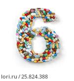 Купить «Number 6 six. Set of alphabet of medicine pills, capsules, tablets and blisters isolated on white.», фото № 25824388, снято 19 июня 2019 г. (c) Maksym Yemelyanov / Фотобанк Лори