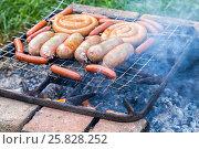 Купить «Аппетитные сочные сардельки, сосиски и колбаски жарятся на самодельном гриле во время пикника на природе в летний солнечный день», фото № 25828252, снято 14 августа 2018 г. (c) FotograFF / Фотобанк Лори